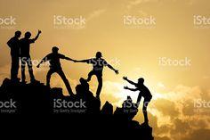 Group of people on peak mountain royalty-free stock photo