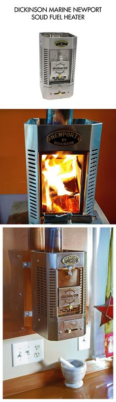 """DICKINSON MARINE NEWPORT SOLID FUEL HEATER  The Newport Solid Fuel Heater is a small stainless steel solid fuel heater designed for casual use ideal for spaces 100-200sqft. This heater burns one to two 1"""" thick wood or presto log, a handful of charcoal briquettes or coal. Removable ash drawer and damper control."""