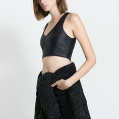 Zara faux leather v crop top NWT New with tags Zara faux leather black v crop top. Classic and stylish. Zara Tops Crop Tops