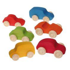 Grimm's Spiel und Holz Rainbow Colored Wooden Toy Cars