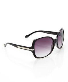 0eaecf0534bb Jessica Simpson Collection Ox Black Bedazzled Square Sunglasses