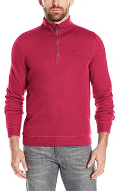 Calvin Klein Men's Long Sleeve Quarter Zip Solid French Rib Pull Over,  Biking Red,  X-Large ❤ Calvin Klein Men's Collections