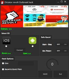 http://www.hackspedia.com/dictator-outbreak-android-ios-hacked-cheats-tool/