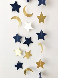 Moon Star Garland Navy Blue Gold Moon Star Baby Shower Decorations Little Star 1st Birthday