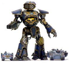 Reaver Titan alongside a Landraider and Rhino