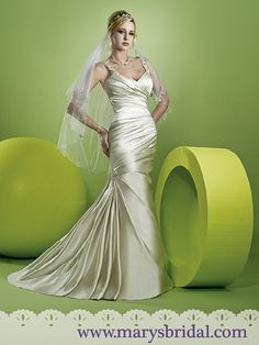 Pleat wrapped V-neckline satin mermaid gown with chapel train and covered button back. Jeweled straps feature crystals, pearls, beads, and sequins. Includes shawl and handbag. Visit 1 Wedding by Mary's Bridal's website 2nd Wedding Dresses, Wedding Dress Gallery, Amazing Wedding Dress, Wedding Dress Styles, Formal Dresses, Mary's Bridal, Bridal Style, Champagne Gown, Mermaid Gown
