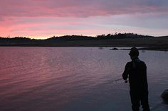 Fishing on Lake Eucumbene at dawn