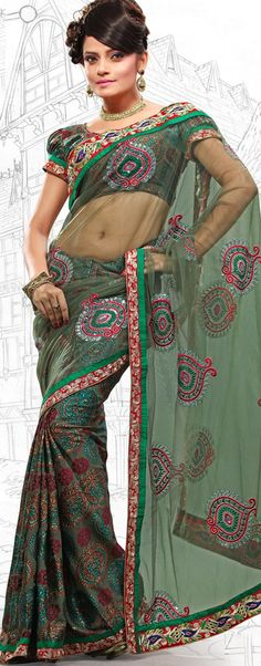 $59.03 Bottle Green Brasso and Net Latest Fashion Saree 16707 With Unstitched Blouse