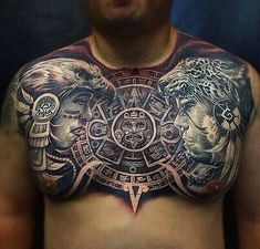 Aztec Tattoo Around Neck Aztec Warrior Tattoo, Sun Tattoo Tribal, Aztec Tribal Tattoos, Skull Girl Tattoo, Aztec Tattoo Designs, Tribal Shoulder Tattoos, Mens Shoulder Tattoo, Aztec Art, Tattoo Designs For Girls