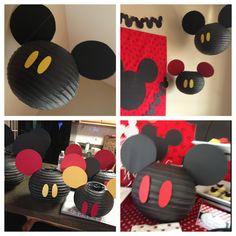 Decoración lámparas de papel de fiesta Mickey Mouse.