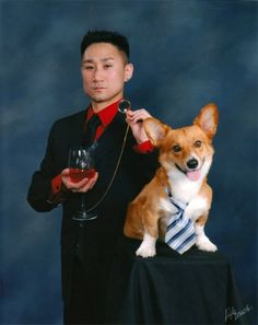 """This guy changed the graduation portrait game forever""  Corgis, amazing how they weasel their ways into human society."