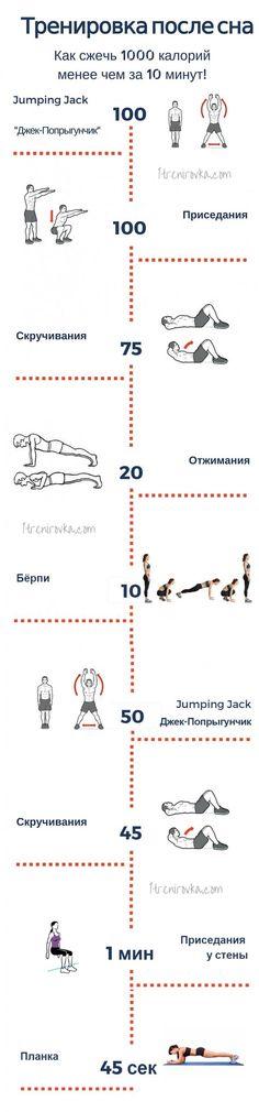 Комплекс упражнений в картинках - инфографика, который позволит сжечь 1000 калорий за максимально короткое время. Убедитесь в этом сами!