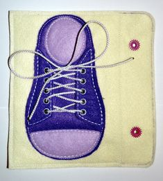 Tie a Shoelace Quiet Book Page machine applique embroidery design file Felt…