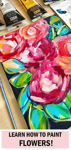 Bastelecke Learn how to paint easy abstract flowers with acrylic paint. Step by step video instructions. Easy Flower Painting, Acrylic Painting Flowers, Simple Acrylic Paintings, Acrylic Painting Techniques, Painting Lessons, Abstract Flowers, Diy Painting, Flower Art, Paint Flowers