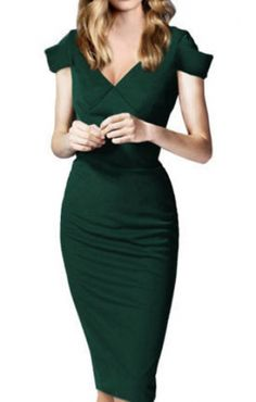 green fitted dress, love these sleeves