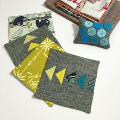 Here's the rest of my giveaway for our #ChellePlusCheleQAL  In addition to the fabric bundle (prior post) is a set of oversized coasters using @jeliquilts #warandgeese pattern, backed with #cottonandsteel sloths or mustard. And a #modernhexies pincushion backed with Alison Glass's Mercury  This has been so much fun for us! @chellesquilts #IGfriendsarerealfriends #quiltyfriends (giveaway details on prior post)