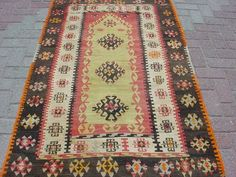 "Anatolian Antique Turkish Sivas Area Rug Prayer Kilim Carpet 39 7"" x 64 5"" 