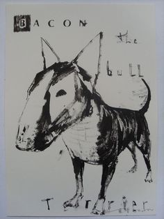 FRANCIS BACON THE BULL TERRIER DOG  ORIGINAL DRAWING BY ANDY SHAW