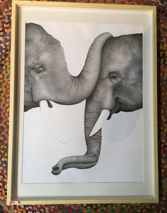 Veronica Reynal - dibujo en tinta 59x80 - #elefantes #dibujo #dibujoentinta #tintanegra Verona, Frame, Home Decor, Elephants, Ink, Drawings, Picture Frame, Decoration Home, Room Decor