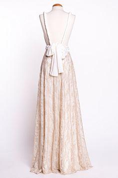 Backless wedding dress Boho Wedding Dress Golden Lace by mimetik