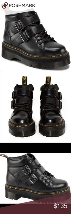 """Dr. Martens Bryony Lace Buckle Boot Polished Black 2"""" heel, 1 1/2"""" platform. Leather upper, leather lining and man made sole. Fits about one size large, normal for Docs. Women's size US 8, fits like a 9! Dr. Martens Shoes Ankle Boots & Booties"""