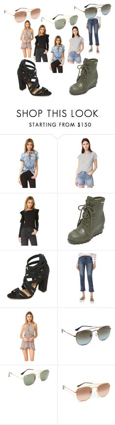"""""""fashion for alert"""" by denisee-denisee ❤ liked on Polyvore featuring Raquel Allegra, T By Alexander Wang, Susana Monaco, SOREL, Schutz, Roe + May, Ray-Ban and vintage"""
