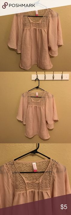 No Boundaries top Lace top that ties in the front wig light and breathable material.  Very feminine! Bought from another Posher but it didnt fit right on me after all.  size is 7-9 Medium No Boundaries Tops Blouses