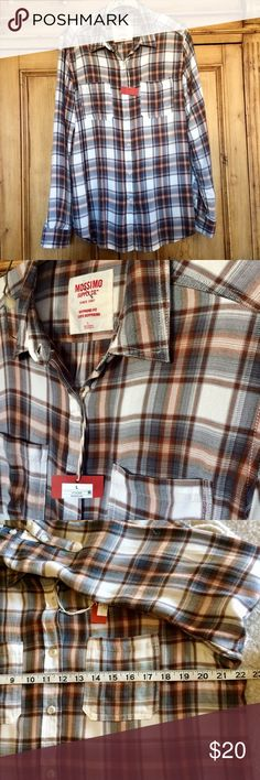 """0d110cce Mossimo women flannel shirt size L The style is """"boyfriend fit """", very loose"""