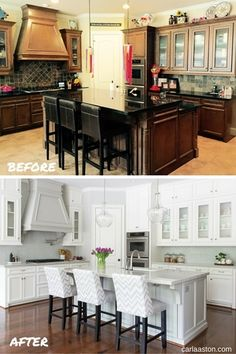 BEFORE & AFTER: A Brown And Gold Kitchen Goes Light And Bright!