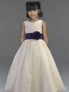 Ivory A-Line Straps Floor Length Organza Flower Girl Dress Denver Online Wholesale