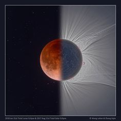 Total Solar Lunar Eclipse - This digitally processed and composited picture creatively compares two famous eclipses in one; the total lunar eclipse (left) of January 31 and the total solar eclipse of August 21 The Moon appears near mid-totality in bo Eclipse Solar E Lunar, Solar Lunar, Cosmos, Eclipse Images, Astronomy Pictures, Nasa Images, Moon Images, Advantages Of Solar Energy, Moon Shadow