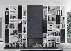 Jesse Open Bookcase R65 - built to fit any gap & built around a fireplace here!