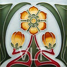 Cerámica que reproduce un motivo floral Art Nouveau. (Villa Lagoon Tile | Mosaic Cement Tile)