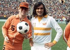 Elton with George Best, UK soccer star,1976