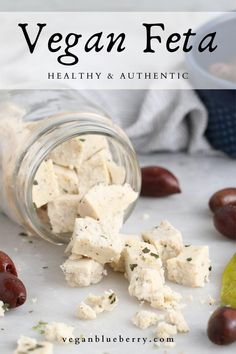 Firm, tangy, creamy, and crumbly, this vegan feta wins the test for 'best' in texture and flavor! A new gluten-free, nut-free, and guilt-free favorite! Made from a base of tofu and refined coconut oil, and thickened with agar powder, this creamy cheese is perfect crumbled over salads, veggie gyros, in spanakopita, and SO much more!#vegancheese Easy Vegan Lunch, Vegan Lunches, Vegan Foods, Vegan Snacks, Vegan Cashew Cheese, Vegan Cream Cheese, Creamy Cheese, Gouda Cheese Recipes, Vegan Appetizers