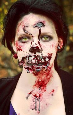 very scary halloween zombie face makeup ideas looks 2016 - Zombie Halloween Faces