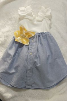 little girls dress made from t-shirt, men's dress shirt, upholstery swatches