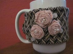 mug coozie that i sewed. it fits on most coffee mugs (except for the super huge, soup bowl-like ones) and most importantly on #STARBUCKS COFFEE CUPS! so you dont have to use a cardboard one. less waste-save the planet! :) #DIY