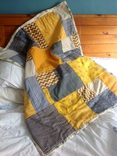 Grey and gold throw quilt £50
