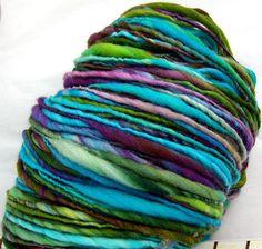 HandSpun Yarn merino wool yarn thicknthin Electric by kittygrrlz, $35.00
