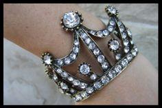 Vintage Rhinestone Clear Stone Crown Cuff Bracelet. Great for Zeta Tau Alpha!