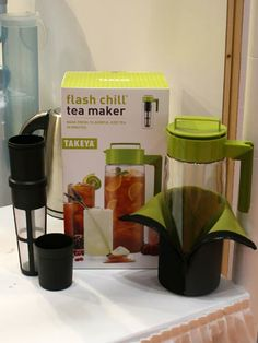 Make some fast home-made iced tea in the dorm with Takeya's Flash Chill Tea Maker that turns a boiling brew to ice cold in 30 seconds.