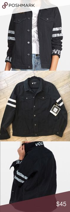 Volcom Black Denim Jacket SZ Lg 14 Button Up NWT This is a brand New with tags Volcom Denim Jacket. It is Size Lg. 14. It will Fit Lg or XL Super cute details. It says Volcom on the collar when you put it up. It has a button up front and is black denim material. Comes from Clean non-smoking home. Volcom Jackets & Coats Jean Jackets