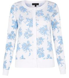 Blue and White Floral Print Ribbed Cardigan