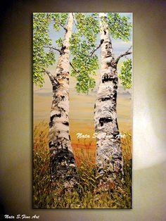 HECHO a la medida: esta pieza se hace a pedido y se mira muy similar a los cuadros anteriormente, ya que cada cuadro es hecho a mano no se verá exactamente el mismo. Cada pintura que creo es uno de una clase. Las imágenes de una obra de arte acabada será enviado antes del envío.  Obra de arte se hará en sobre 5-8 bus.days   Pintura del árbol de abedul. Original paisaje Painting.Impasto.Palette Knife.Heavy textura abedul árbol Painting.Forest,Sky,Tree,Birch Painting.Looking para arriba…