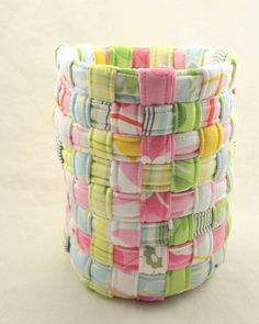 Scrap basket! The strips are homemade bias tape with some quilt batting in the middle for stiffness.