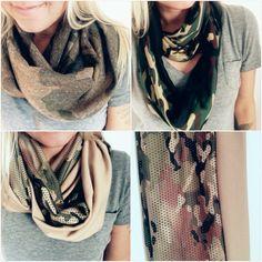 Super cute handmade camo infinity scarfs available at www.shop3sn.com   #camo #infinity #scarf #infinityscarf #military