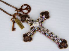 Beaded Copper Cross Necklace Spiritual Charm Hand by BonzerBeads