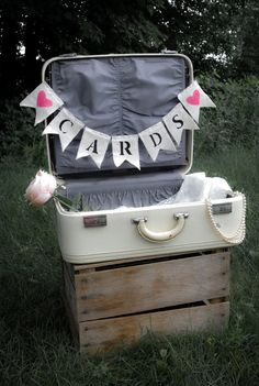 """Bunting """"CARDS"""" Wedding Photo Prop Rustic Home Décor Garland Shabby Chic Vintage Inspired"""