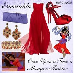 Disney Style: Esmeralda created by trulygirlygirl Disneybound Outfits, Disney Character Outfits, Disney Princess Outfits, Disney Themed Outfits, Character Inspired Outfits, Disney Dresses, Disney Couture, Disney Prom, Disney Weddings